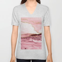 Pink And Gold Marble Waves Unisex V-Neck
