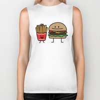 french fries Biker Tanks featuring Happy Cheeseburger and French Fries by Berenice Limon