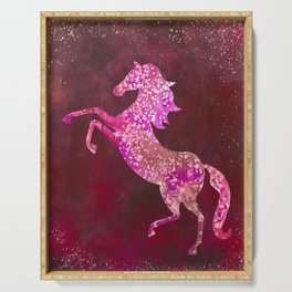 Fiery Red Flaming Celestial Horse Serving Tray