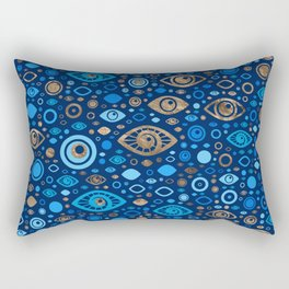 Greek Evil Eye pattern Blues and Gold Rectangular Pillow