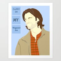 sam winchester Art Prints featuring Sam Winchester by thefluidlines