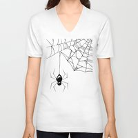 spider V-neck T-shirts featuring Spider by Chrystal Elizabeth