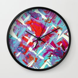 Vibrant Blue White and Red Abstract Art Wall Clock