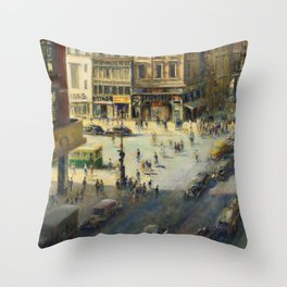 American Masterpiece 'Greenwich Village, NY' by Alfred S. Mira Throw Pillow