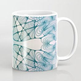 Blue Wash Zentangled Cross Tile Doodle Design Coffee Mug