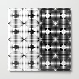 Abstract tile made of white and black stretches of kradratov, rhombuses and stars. Metal Print