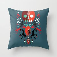 three of the possessed Throw Pillows featuring Red Girl possessed  by Patricio Oliver