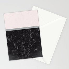 Grey Black Marble Meets Romantic Pink #1 #decor #art #society6 Stationery Cards