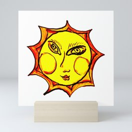 Yellow Sun Mandala Mini Art Print