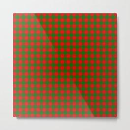 Red and Green Christmas Gingham Tartan Metal Print