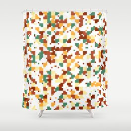 Waiting for Fall - Random Pixel Pattern in Green, Orange and Yellow Shower Curtain
