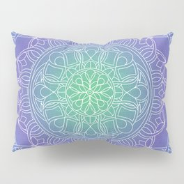 White Lace Mandala in Blue, Green and Purple Pillow Sham