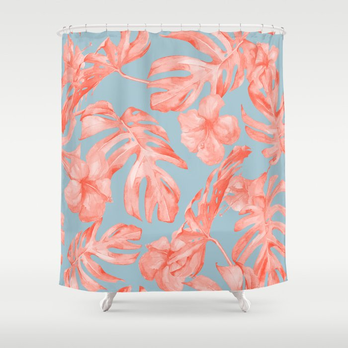 Island Life Coral On Light Blue Shower Curtain By Followmeinstead