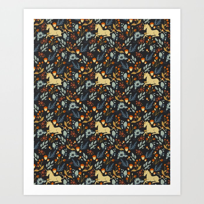 Unicorn autumn forest pattern Art Print