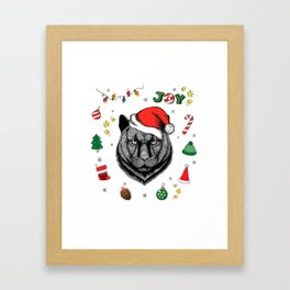 Merry Christmas Panther Framed Art Print