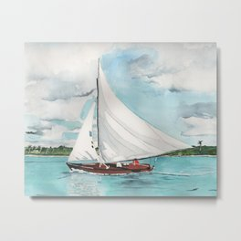 Sail Away watercolor painting of sailboat on turquoise waters Metal Print