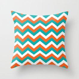 Teal & Orange Chevron Pattern Throw Pillow