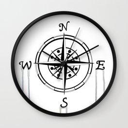 Watercolor Naval Compass Wall Clock