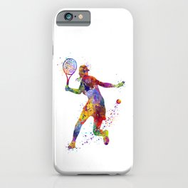 Girl Tennis Forehand Colorful Watercolor iPhone Case