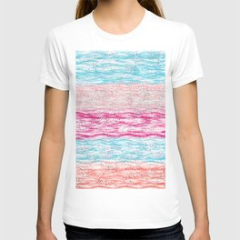 Artistic pink teal watercolor brushstrokes confetti stripes T-shirt