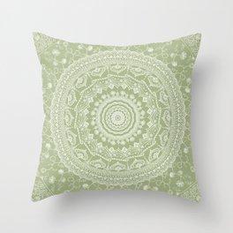 Secret garden mandala in pale green Throw Pillow