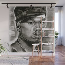 50 in Black and White Wall Mural