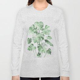 Delicate Monstera Green #society6 Long Sleeve T-shirt