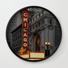 Chicago Theatre Sign Downtown State Street Historic Theater Marquee Wall Clock
