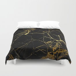 Black-Gold Marble Impress Duvet Cover