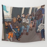"subway Wall Tapestries featuring SUBWAY CROWD by ""dfrnt"""
