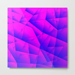 Pattern of purple and lilac triangles and irregularly shaped lines. Metal Print