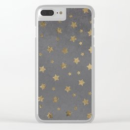 gold christmas stars geometric pattern grey graphite cement concrete Clear iPhone Case