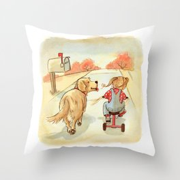 Little Girl with Golden Retriever - Artwork that re-visits your favorite childhood memories Throw Pillow