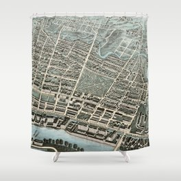 Vintage Pictorial Map of Lawrence Massachusetts (1876) Shower Curtain