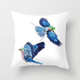 Watercolor blue birds of paradise Throw Pillow