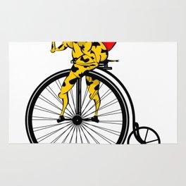 Giraffe on a bike Santa Claus Rug
