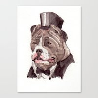 pitbull Canvas Prints featuring pitbull by Becca Kallem