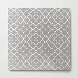 Grey, Fog: Quatrefoil Clover Pattern Metal Print