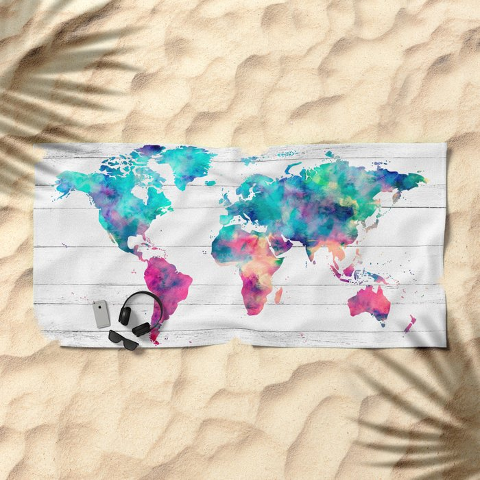 World Map Watercolor Paint on White Wood Beach Towel