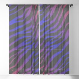 Ripped SpaceTime Stripes - Red/Blue Sheer Curtain