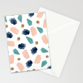 Terrazzo (turquoise, navy, pink & gold) Stationery Cards