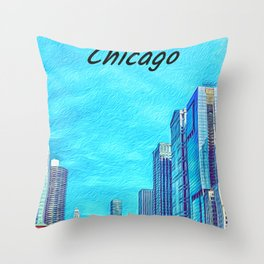 Chicago downlown river with oil painting art Throw Pillow
