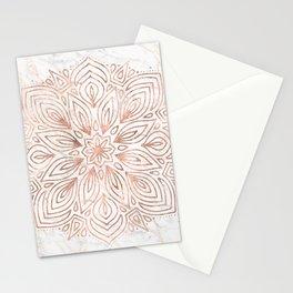 Mandala Rose Gold Quartz on Marble Stationery Cards