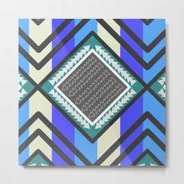 Arrows and waves in blue Metal Print