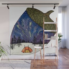 Camping under Aurora Borealis in a Nutshell Wall Mural