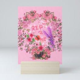 RIP 2 ME - Glitchy Floral Wreath Drawing Mini Art Print