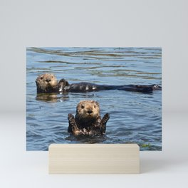 sea otter hello Mini Art Print
