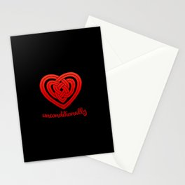 UNCONDITIONALLY in red on black Stationery Cards