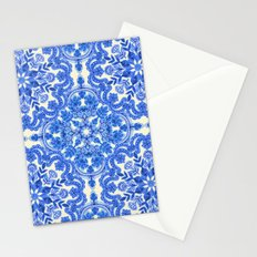 Cobalt Blue & China White Folk Art Pattern Stationery Cards