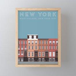 West Village, New York, NYC Travel Poster Framed Mini Art Print